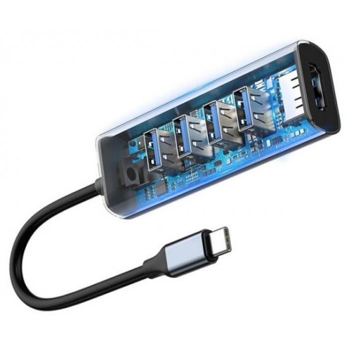 USB-концентратор Baseus Enjoy Series Type-C - 4xUSB/HDMI (CAHUB-N0G), разъемов: 4