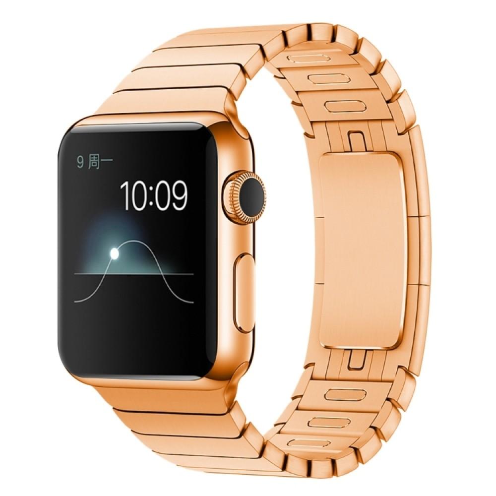 Браслет блочный из нержавеющей стали для Apple Watch 38/40 мм, цвет розовое золото