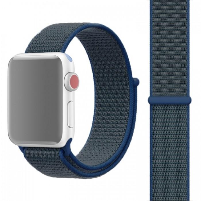 Ремешок из нейлона с застёжкой-липучкой для Apple Watch 42/44 мм, синий цвет