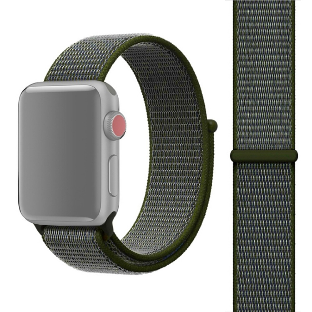 Ремешок из нейлона с застёжкой-липучкой для Apple Watch 38/40 мм, тёмно-зелёный цвет