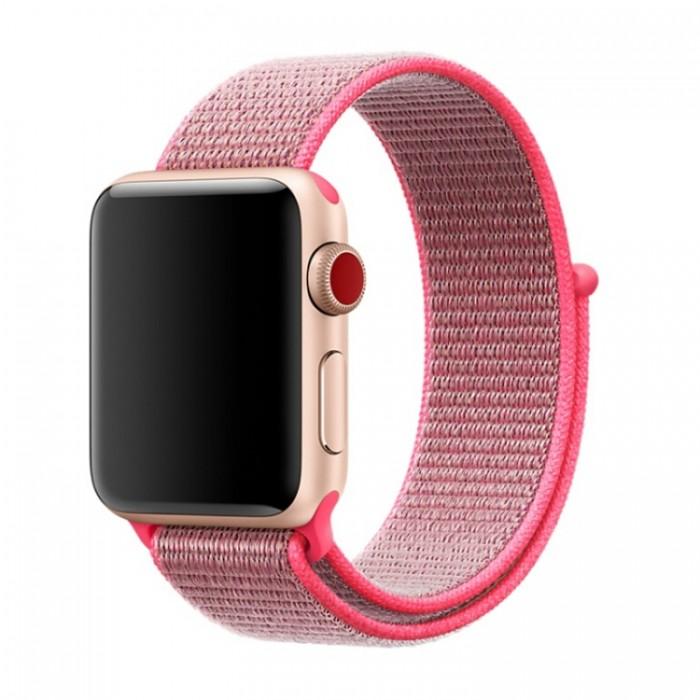 Ремешок из нейлона с застёжкой-липучкой для Apple Watch 38/40 мм, тёмно-розовый цвет