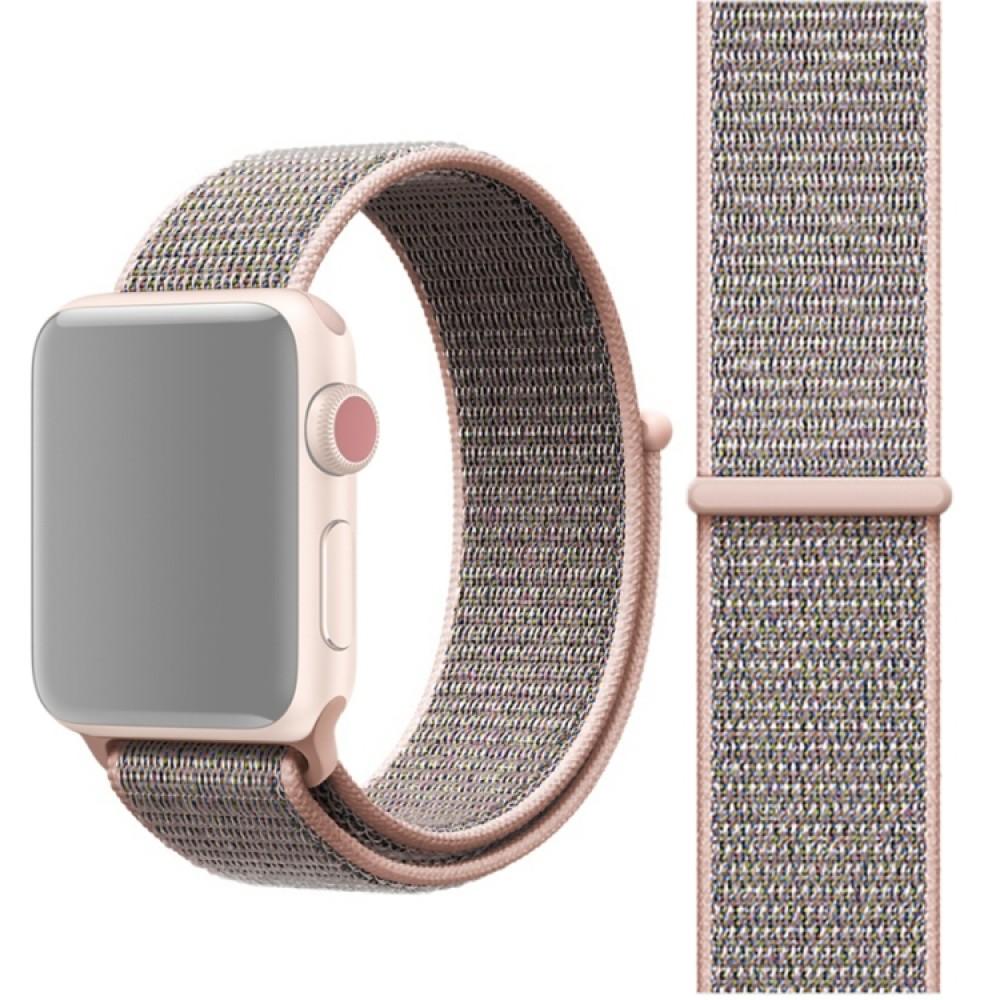Ремешок из нейлона с застёжкой-липучкой для Apple Watch 38/40 мм, розовый цвет