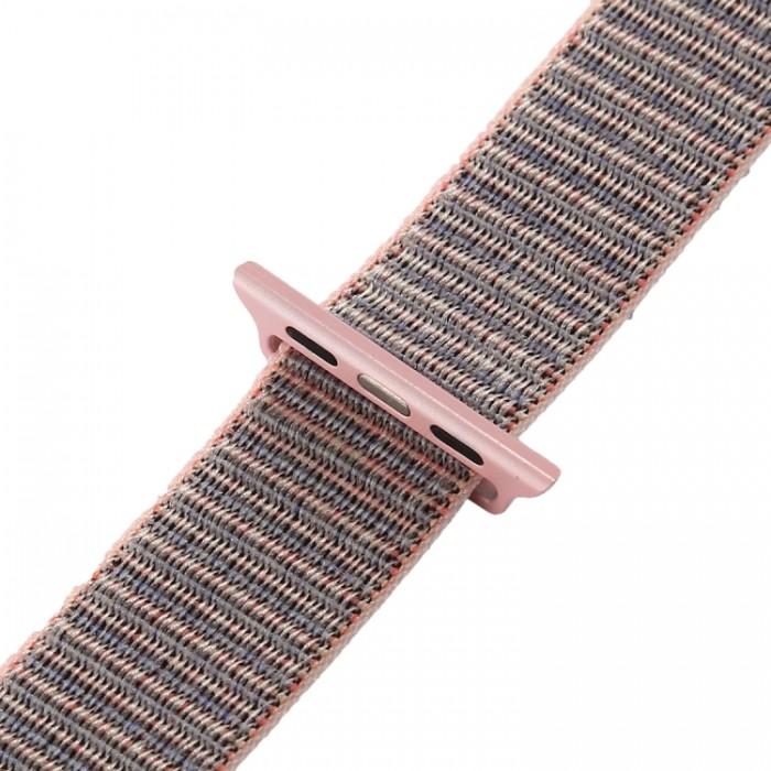 Ремешок из нейлона с застёжкой-липучкой для Apple Watch 42/44 мм, розовый цвет