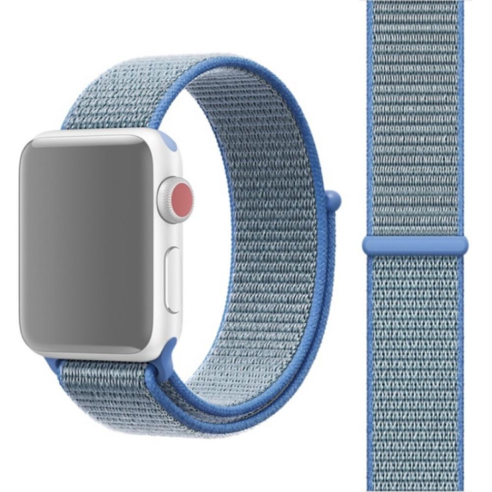 Ремешок из нейлона с застёжкой-липучкой для Apple Watch 42/44 мм, голубой цвет