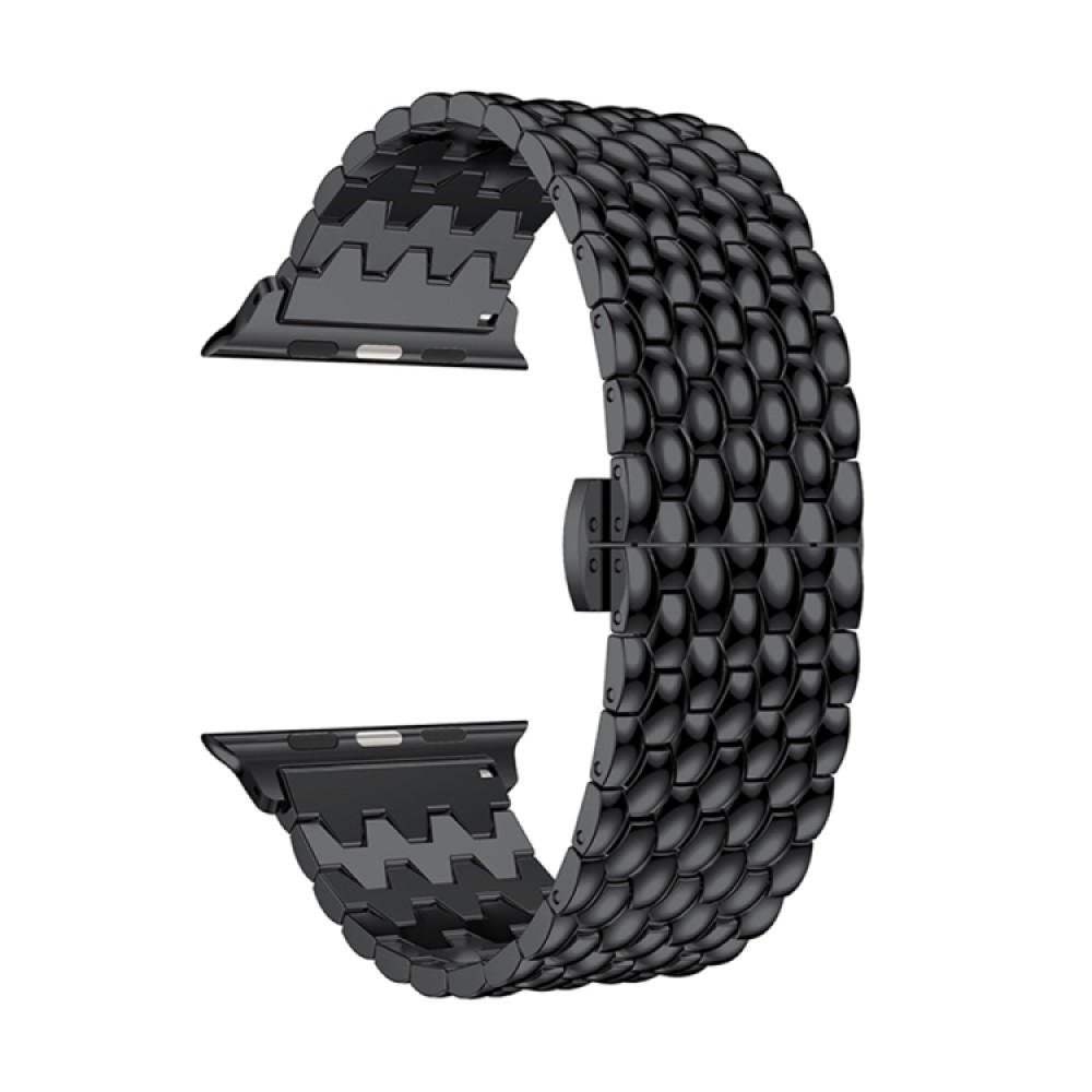 Браслет из нержавеющей стали рельефный для Apple Watch 38/40 мм, чёрный цвет