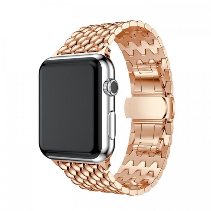 Браслет из нержавеющей стали рельефный для Apple Watch 38/40 мм, цвет розовое золото
