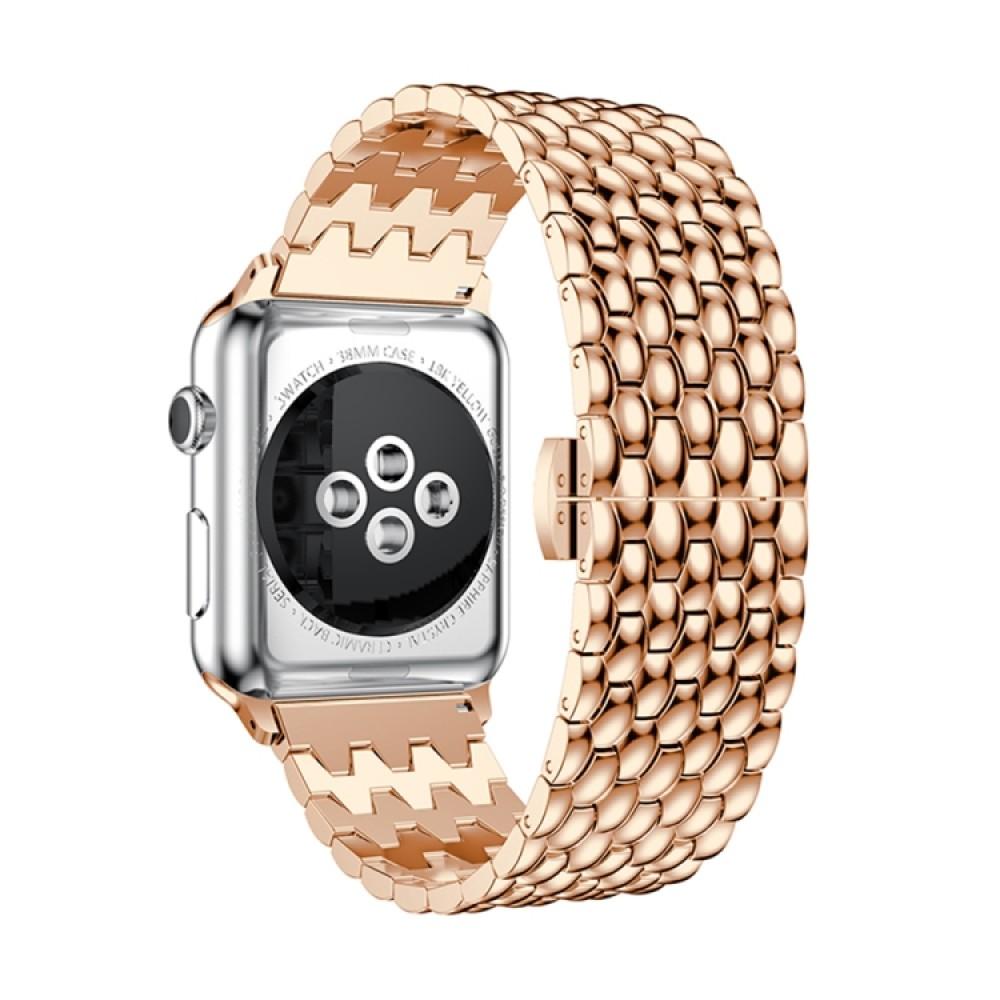Браслет из нержавеющей стали рельефный для Apple Watch 42/44 мм, цвет розовое золото