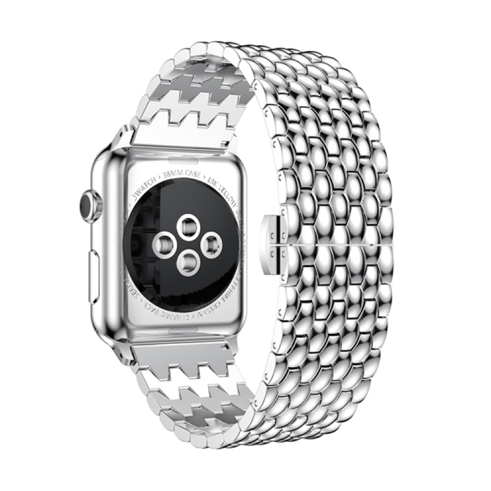 Браслет из нержавеющей стали рельефный для Apple Watch 42/44 мм, серебристый цвет