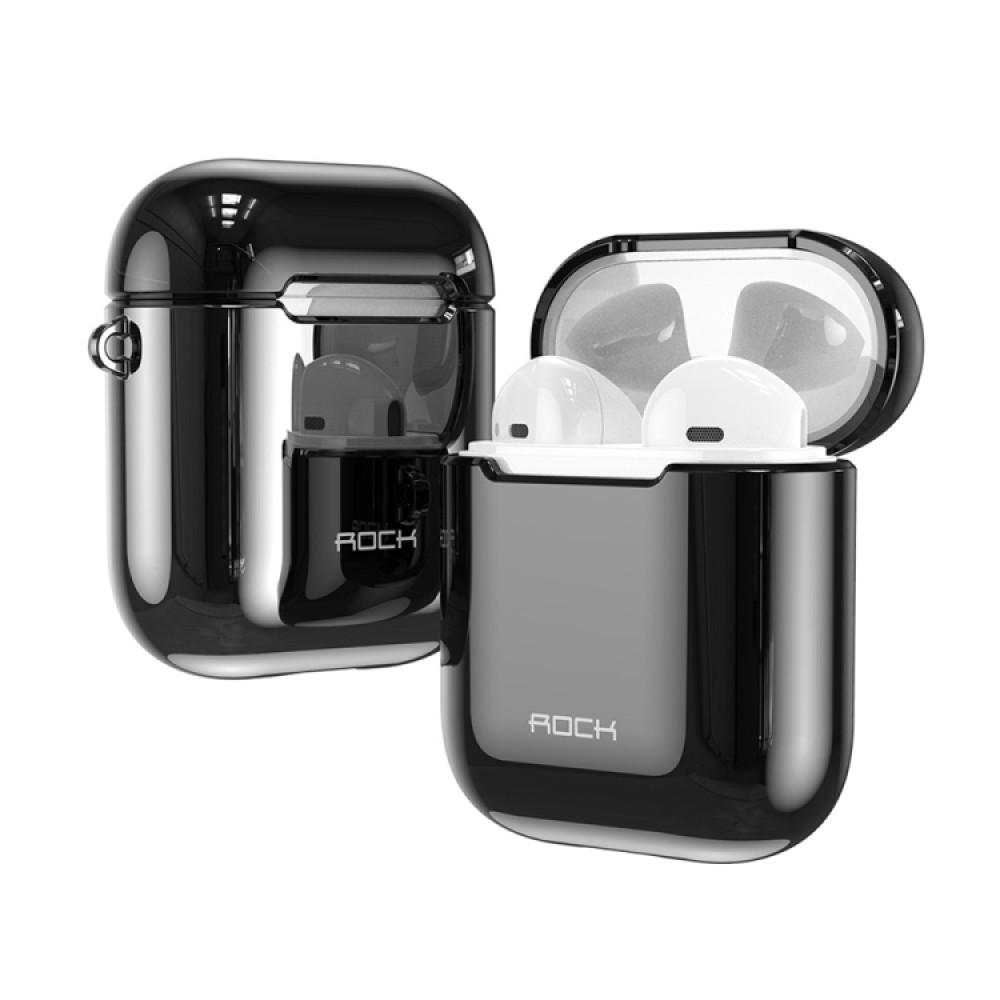 Чехол Rock Elecroplating Protective Case для AirPods 1/2, чёрный цвет