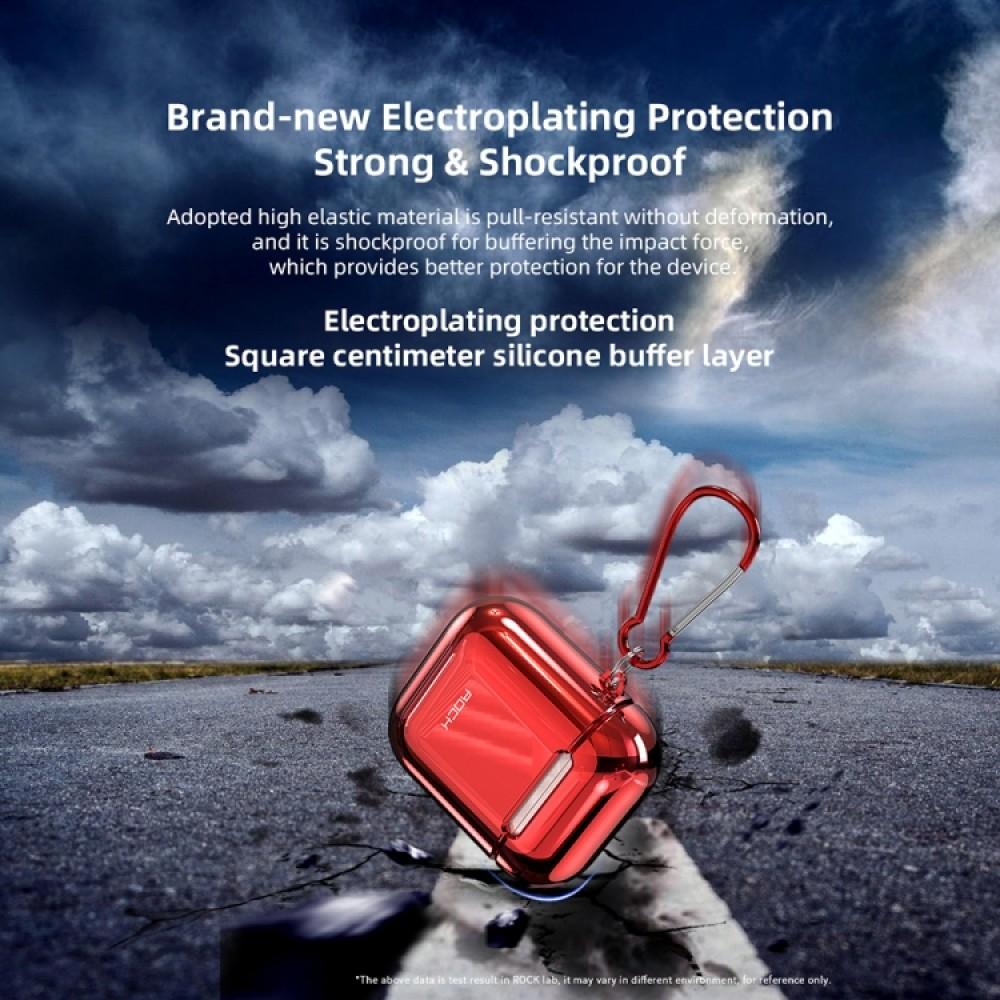 Чехол Rock Elecroplating Protective Case для AirPods 1/2, красный цвет