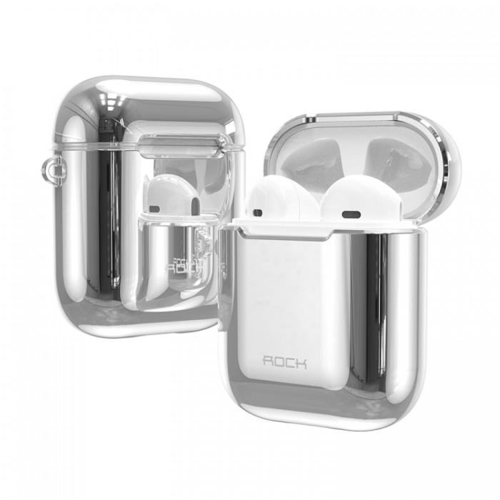 Чехол Rock Elecroplating Protective Case для AirPods 1/2, серебристый цвет