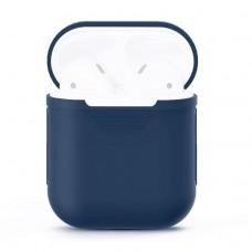 Чехол силиконовый для AirPods 1/2, тёмно-синий цвет