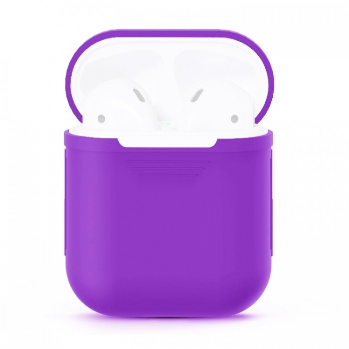 Чехол силиконовый для AirPods 1/2, фиолетовый цвет