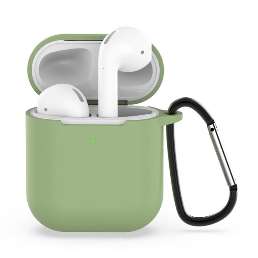 Чехол силиконовый с карабином для AirPods 1/2, зелёный цвет