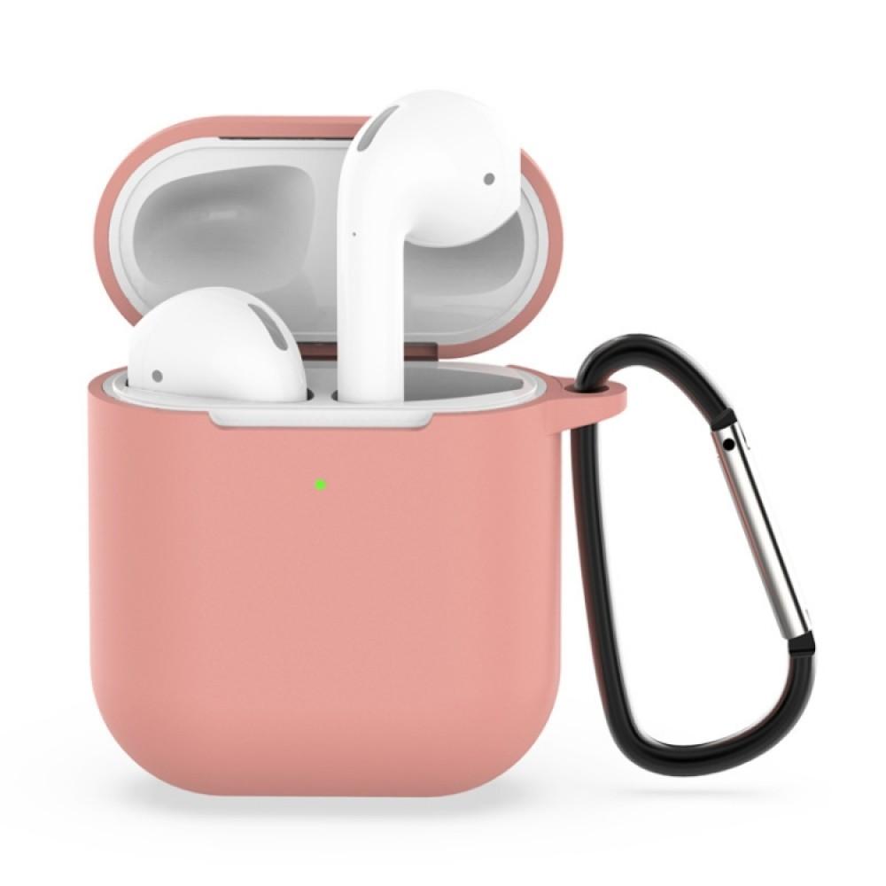 Чехол силиконовый с карабином для AirPods 1/2, розовый цвет
