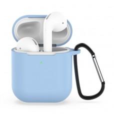 Чехол силиконовый с карабином для AirPods 1/2, голубой цвет
