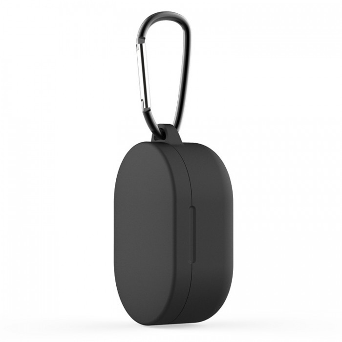 Чехол силиконовый с карабином для Redmi AirDots и Xiaomi AirDots Youth Edition, чёрный цвет
