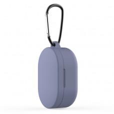 Чехол силиконовый с карабином для Redmi AirDots и Xiaomi AirDots Youth Edition, синий цвет