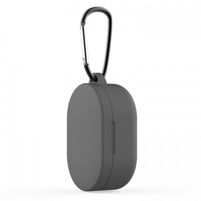 Чехол силиконовый с карабином для Redmi AirDots и Xiaomi AirDots Youth Edition, тёмно-серый цвет