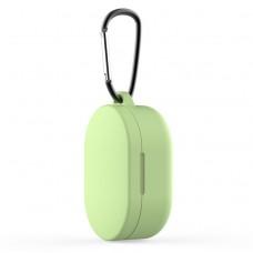 Чехол силиконовый с карабином для Redmi AirDots и Xiaomi AirDots Youth Edition, зелёный цвет