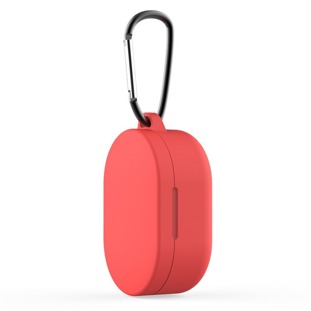 Чехол силиконовый с карабином для Redmi AirDots и Xiaomi AirDots Youth Edition, красный цвет