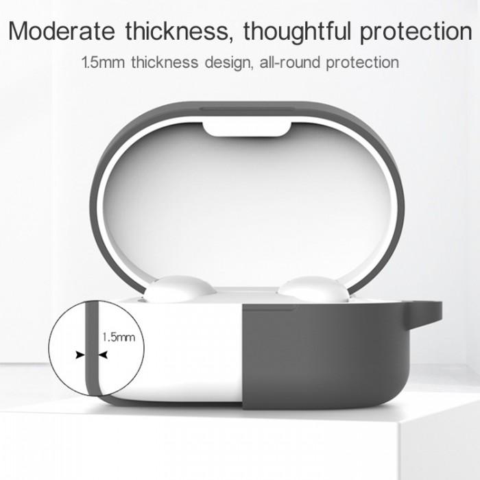 Чехол силиконовый для Redmi AirDots и Xiaomi AirDots Youth Edition, тёино-серый цвет