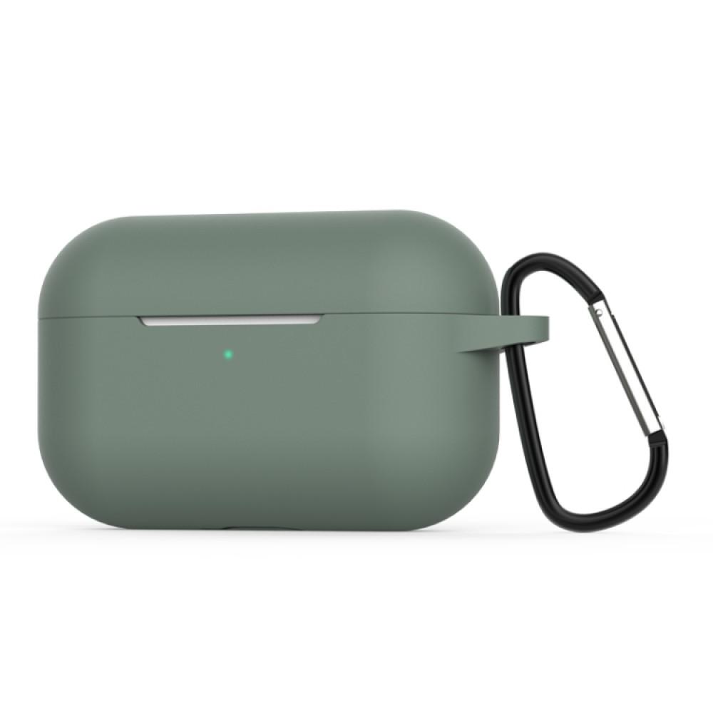 Чехол силиконовый с карабином для AirPods Pro, тёмно-зелёный цвет