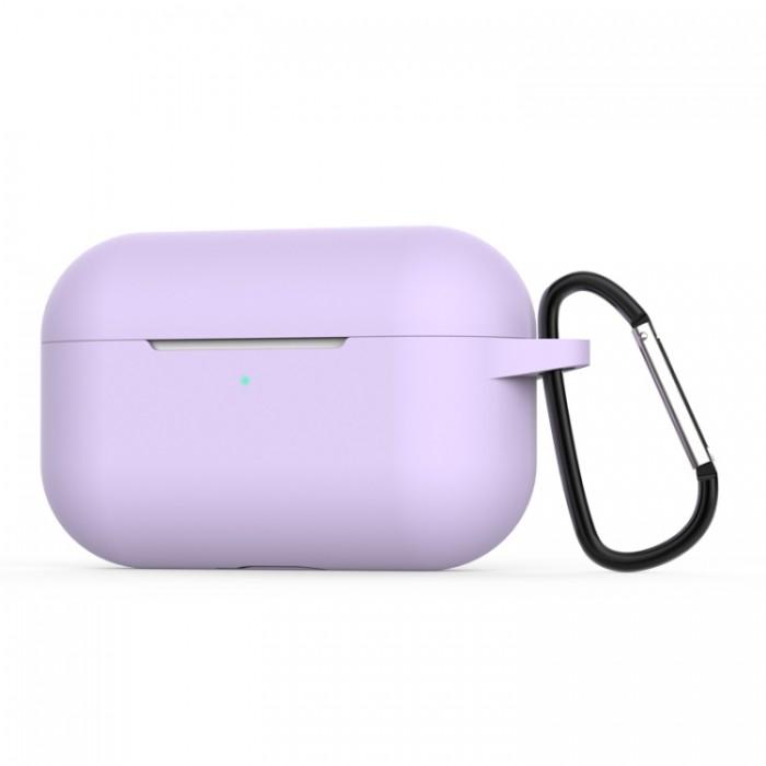 Чехол силиконовый с карабином для AirPods Pro, сиреневый цвет