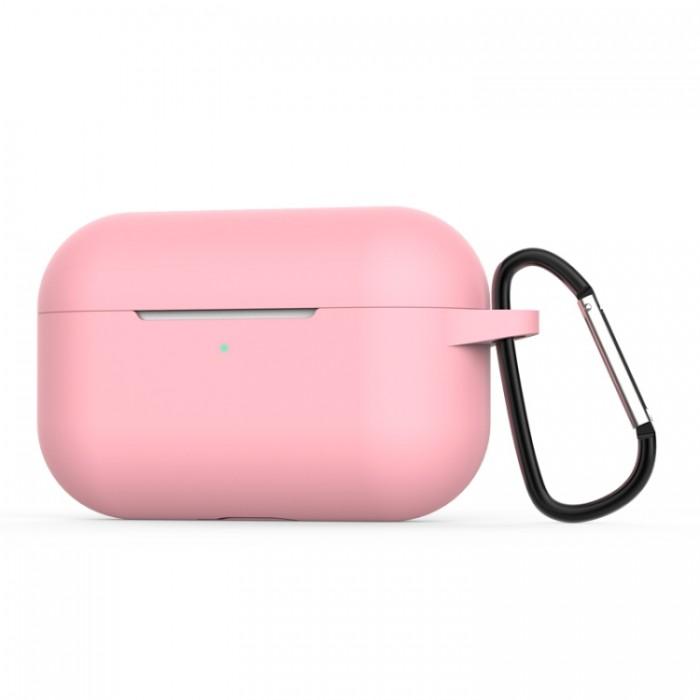 Чехол силиконовый с карабином для AirPods Pro, розовый цвет