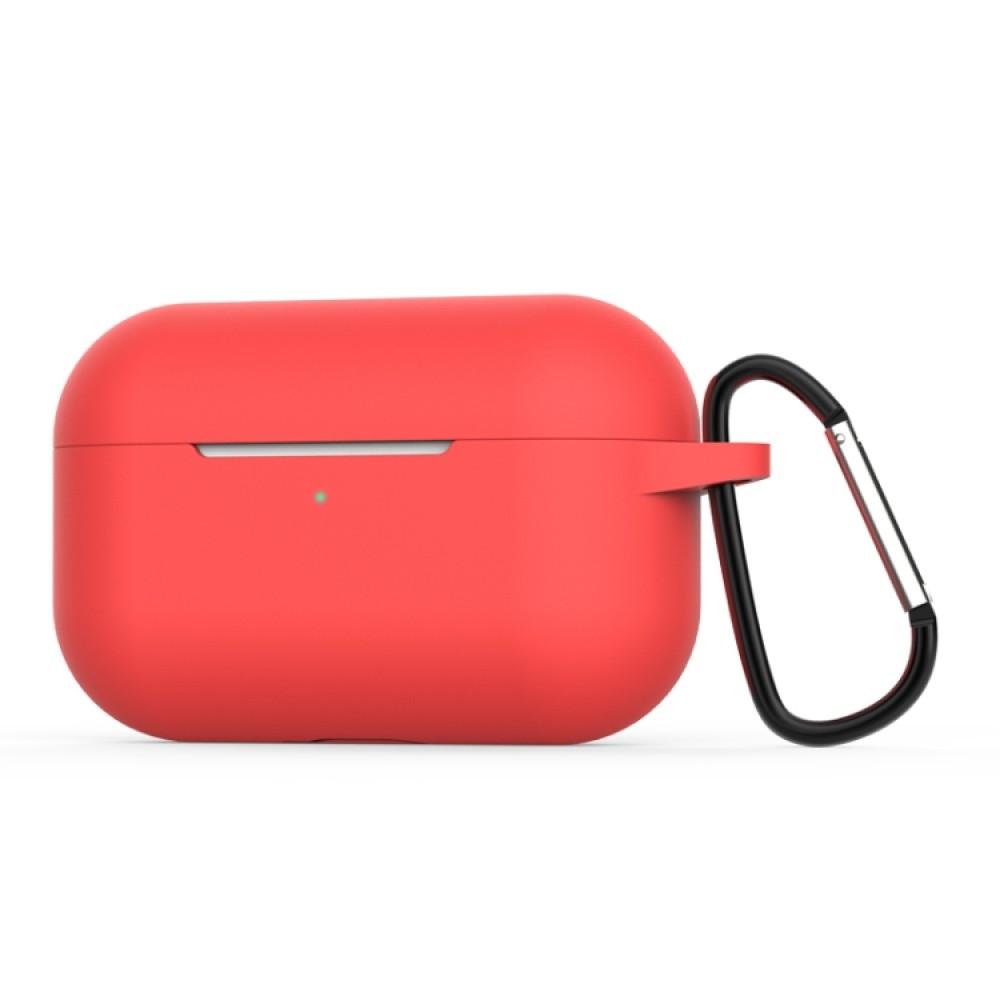 Чехол силиконовый с карабином для AirPods Pro, красный цвет