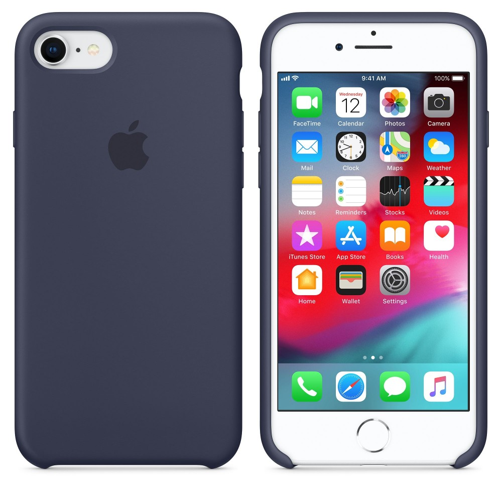 Чехол силиконовый Silicone Case для iPhone 7/8, тёмно-синий цвет