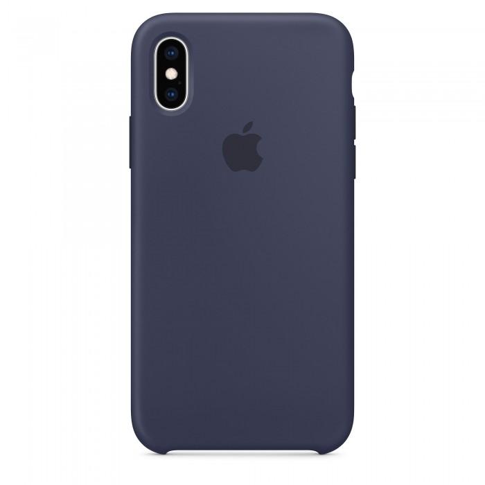 Чехол силиконовый Silicone Case для iPhone XS, тёмно-синий цвет