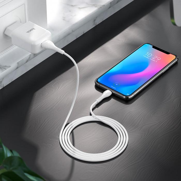 Сетевое зарядное устройство с кабелем USB-A/USB-C Hoco N2 USB-A 2.1A, белый цвет