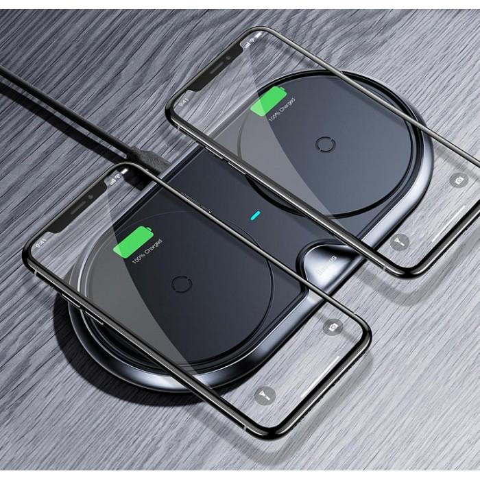 Беспроводная сетевая зарядка Baseus Dual Wireless Charger Metal, чёрный цвет