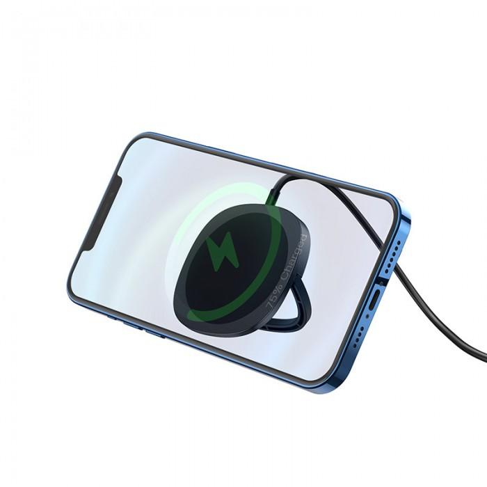 Беспроводная сетевая зарядка Hoco CW35 MagSafe 15W, чёрный цвет