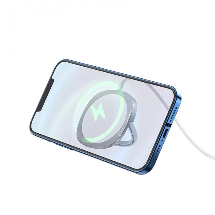 Беспроводная сетевая зарядка Hoco CW35 MagSafe 15W, серебристый цвет