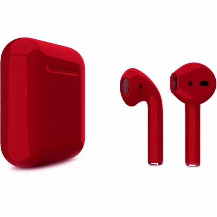 Apple AirPods 2 Color (беспроводная зарядка чехла), глянцевый вишнёвый цвет