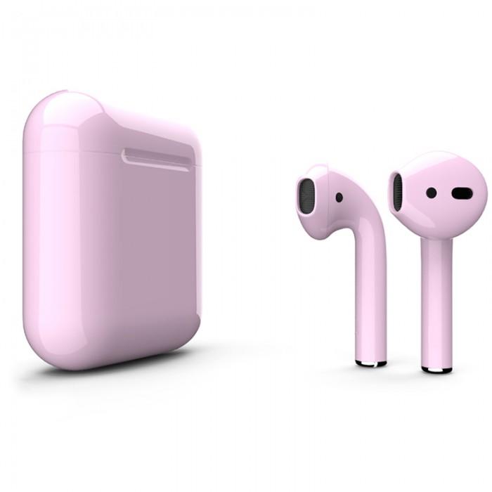 Apple AirPods 2 Color (беспроводная зарядка чехла), глянцевый пастельно-розовый цвет