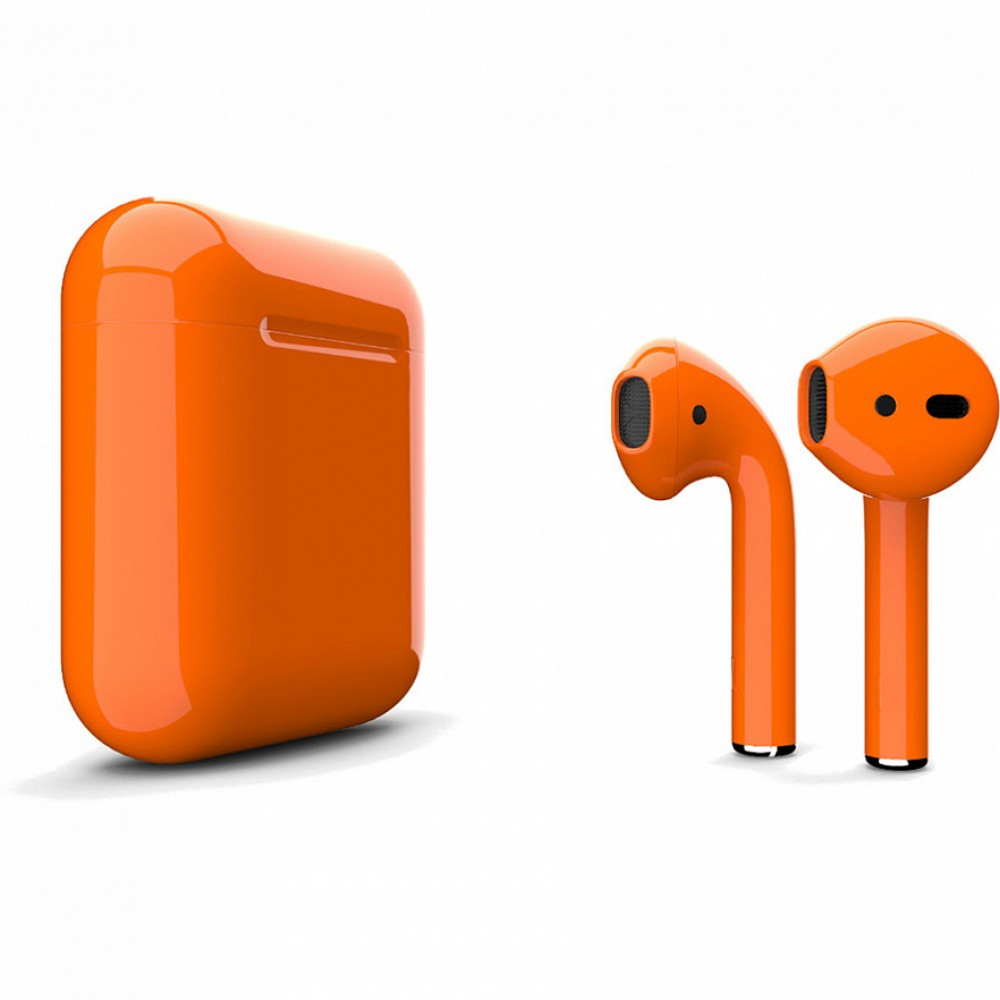 Apple AirPods 2 Color (без беспроводной зарядки чехла), глянцевый оранжевый цвет