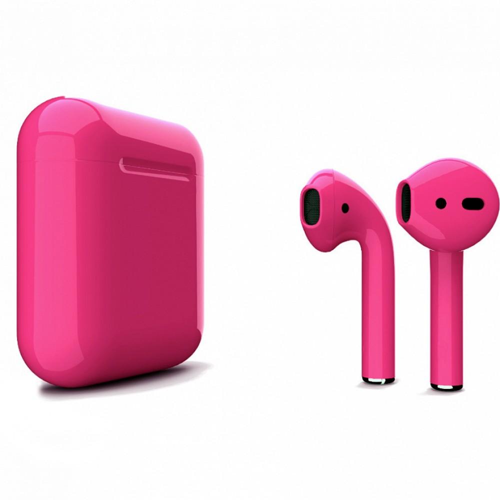 Apple AirPods 2 Color (беспроводная зарядка чехла), глянцевый тёмно-розовый цвет