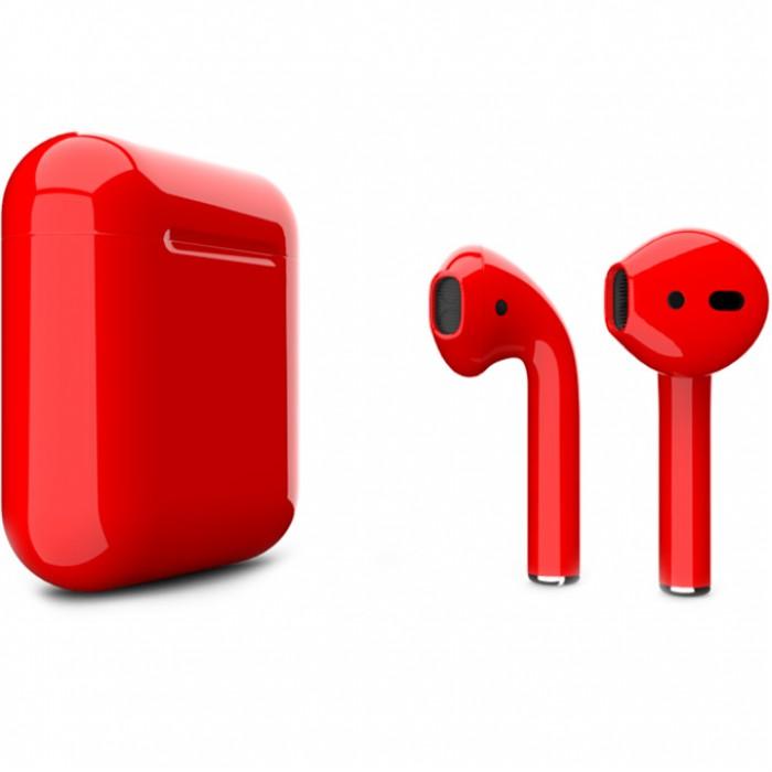 Apple AirPods 2 Color (беспроводная зарядка чехла), глянцевый красный цвет