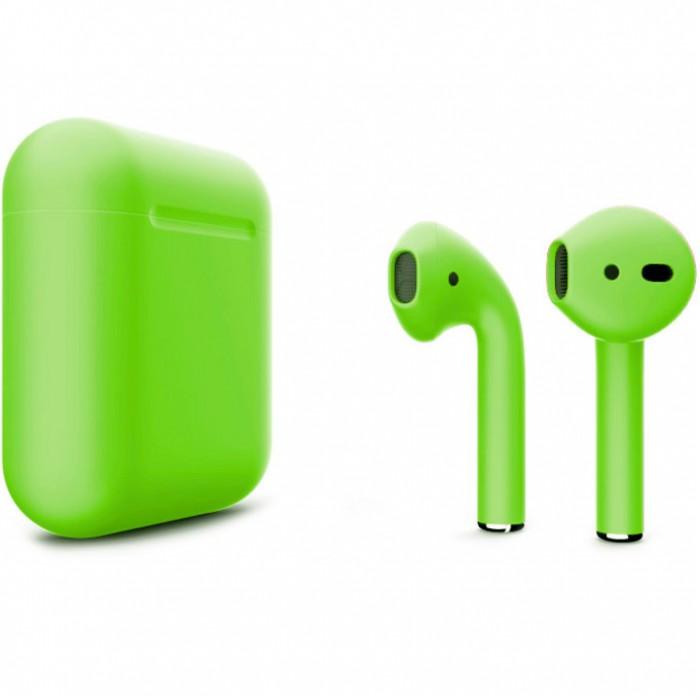 Apple AirPods 2 Color (беспроводная зарядка чехла), матовый салатовый цвет