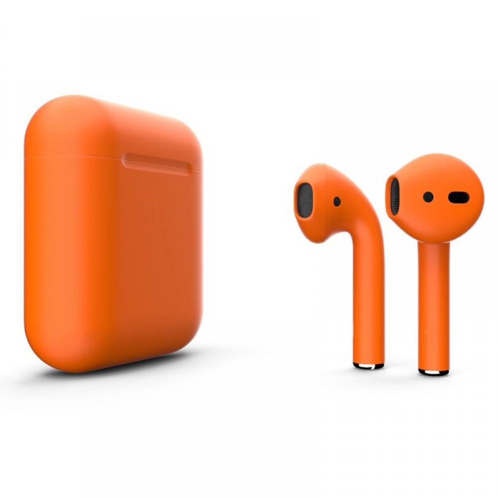 Apple AirPods 2 Color (беспроводная зарядка чехла), матовый оранжевый цвет