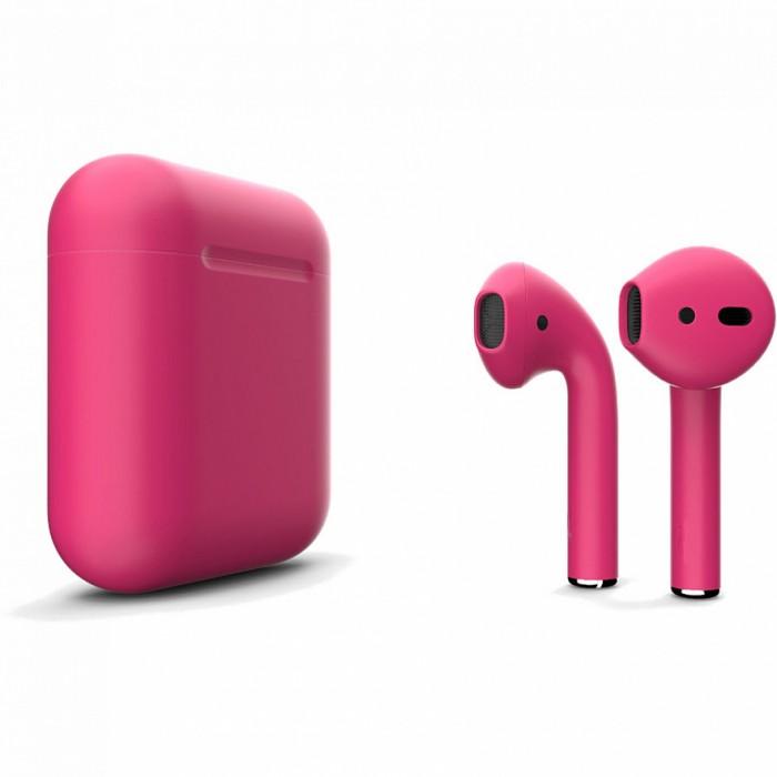 Apple AirPods 2 Color (беспроводная зарядка чехла), матовый тёмно-розовый цвет