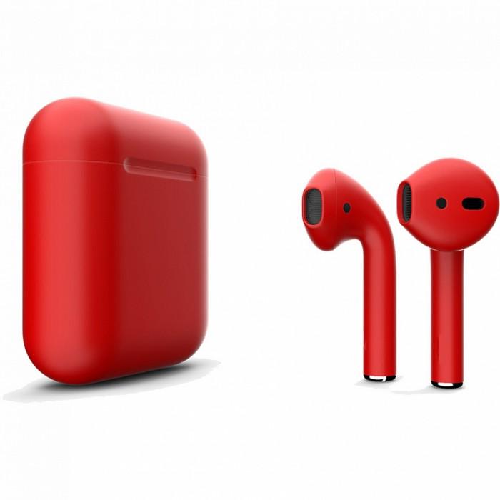 Apple AirPods 2 Color (беспроводная зарядка чехла), матовый красный цвет