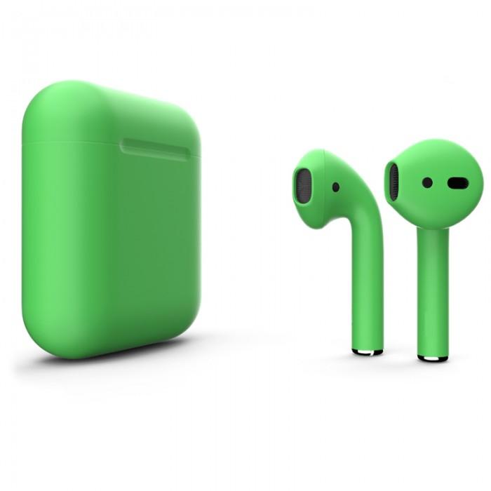 Apple AirPods 2 Color (беспроводная зарядка чехла), матовый весенне-зелёный цвет