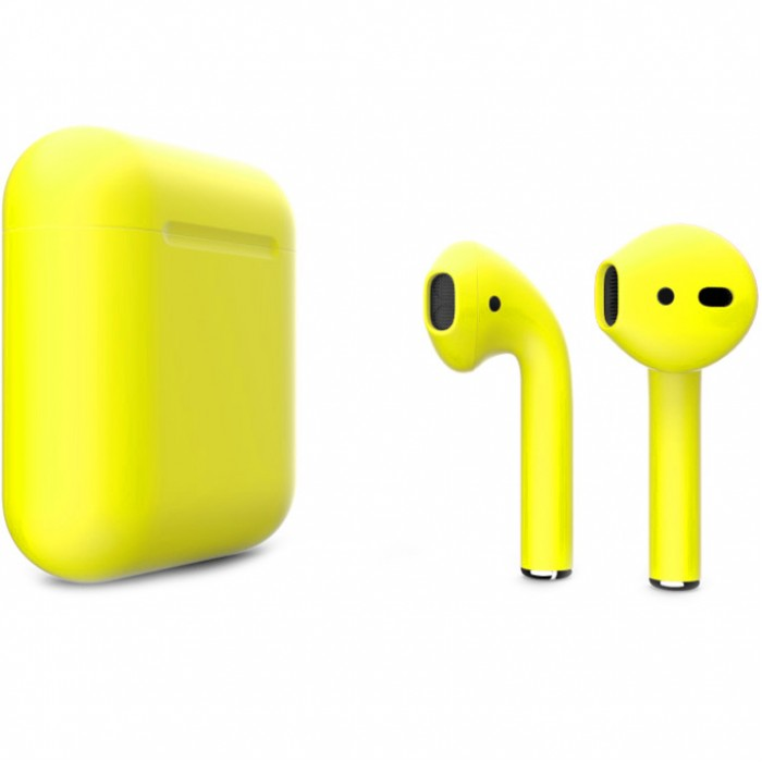 Apple AirPods 2 Color (без беспроводной зарядки чехла), матовый жёлтый цвет