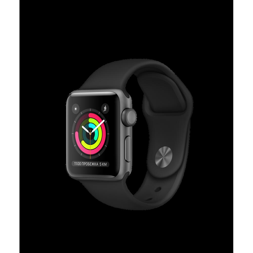 Apple Watch Series 3 GPS, 38 мм, алюминий цвета «серый космос», спортивный ремешок чёрного цвета