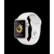 Apple Watch Series 3 GPS, 38 мм, алюминий серебристого цвета, спортивный ремешок белого цвета