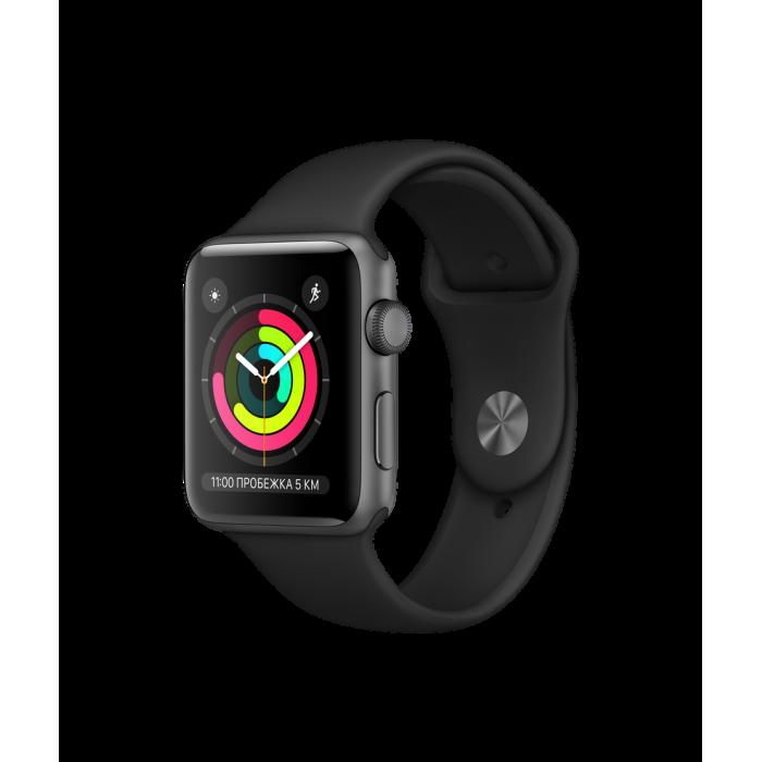 Apple Watch Series 3 GPS, 42 мм, алюминий цвета «серый космос», спортивный ремешок чёрного цвета
